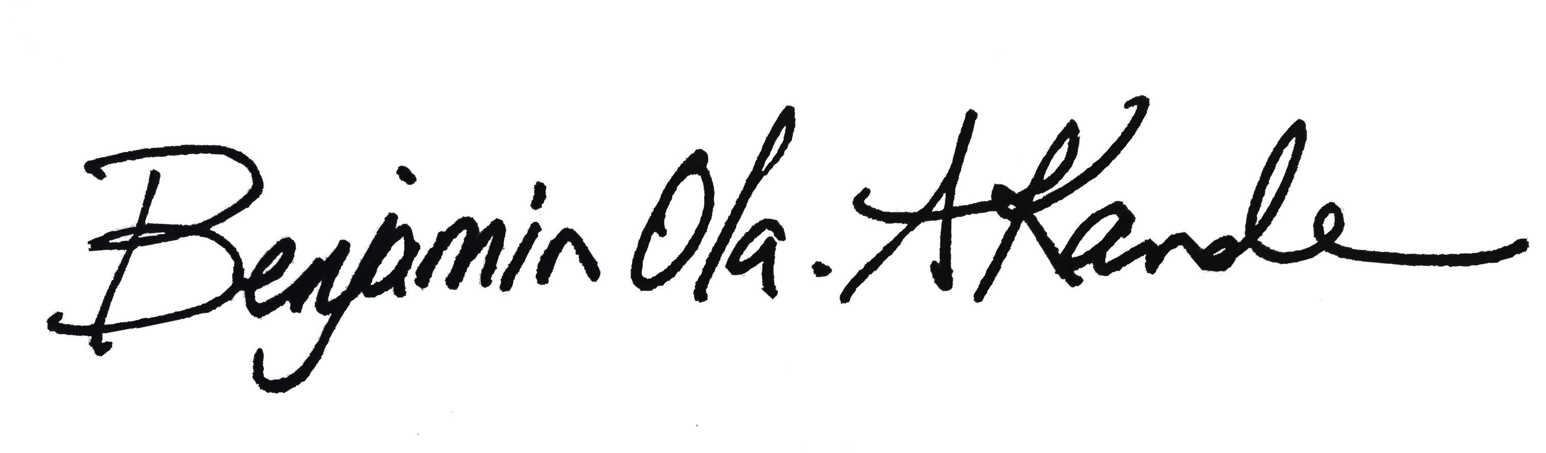 signature: Benjamin Ola. Akande, Ph.D.